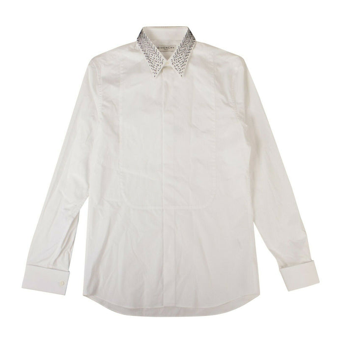 Cotton 'Embellished' Button Down Shirt - White