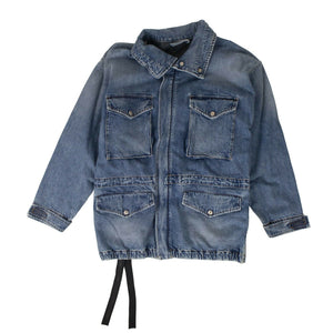 Cotton Denim Caban Jacket - Blue