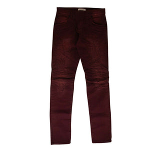 Cotton 'Distressed Denim' Pants - Burgundy