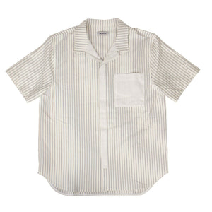 Cotton Ecru Stripe Bowling Shirt - White