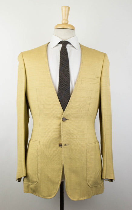 Silk Blend Lapel-Less 2 Button Suit - Yellow