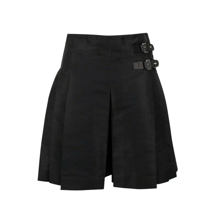Satin Thick Pleated Flare Shorts - Black