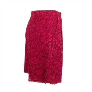 Floral Embroidered Lace Shorts - Fuchsia