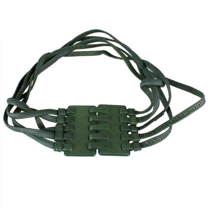 Leather Strappy Hook And Eye Belt - Green
