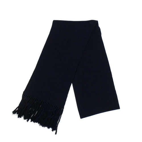 Wool Cable Knit Scarf - Navy Blue