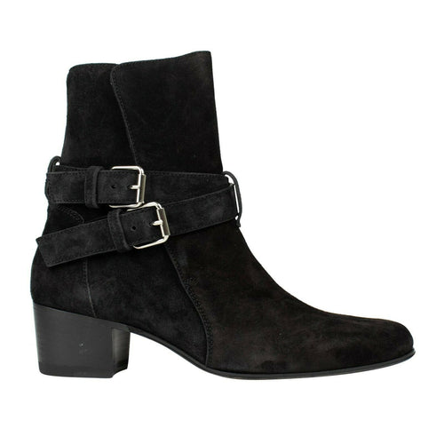Suede Leather Double Buckle Boots - Black