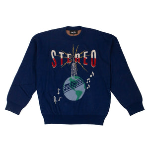 Cotton 'Stereo Globe' Long Sleeves Sweater - Blue