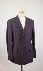Cashmere Blend Double Breasted Sport Coat - Purple