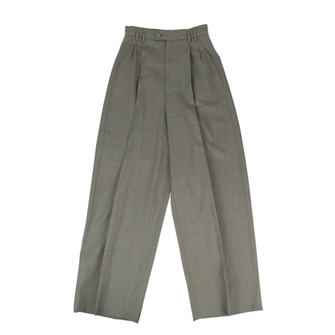 Wool Wide-Leg Pants - Gray