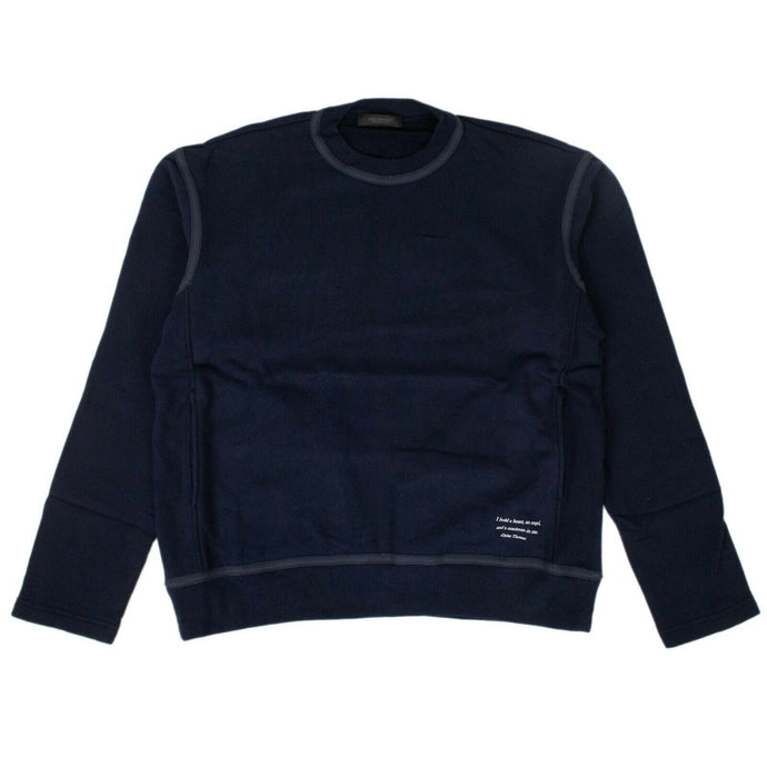 Cotton Long Sleeve Crew Neck Sweater - Navy