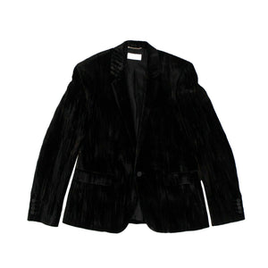 Crinkle Velvet Tailored Suit Jacket - Black