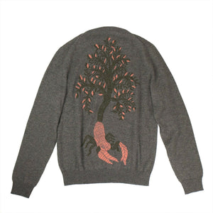 Cashmere Tree Design Back Sweater - Gray / Coral