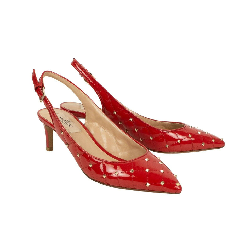 Leather 'Rockstud' Spike Quilted Pumps - Red
