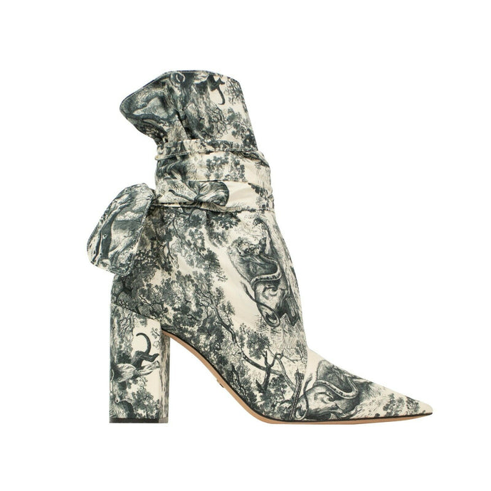 Huggy Toile De Jouy Fabric Ankle Boots - Cream / Blue