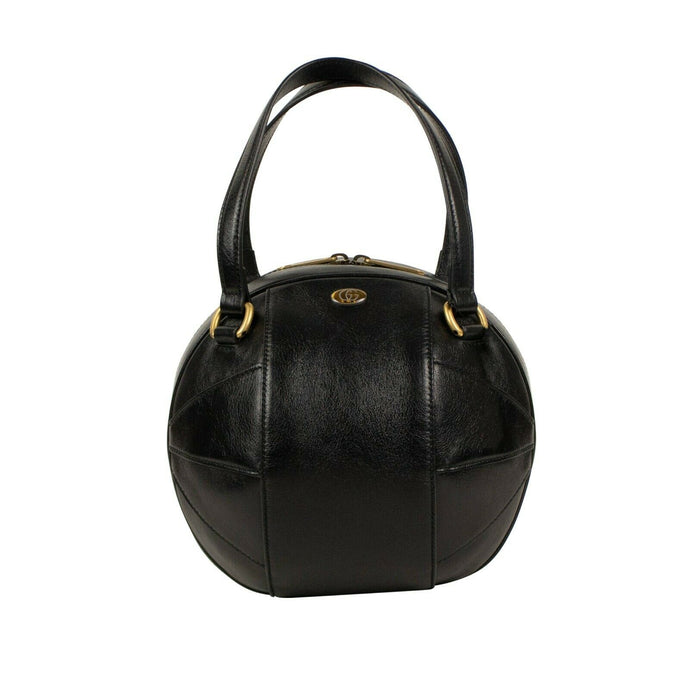 Leather 'Piuma Lux' Baseball Handbag - Black