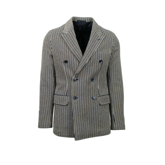 Striped Cotton Double Breasted Sport Coat - Blue