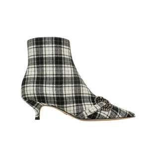 'Dior Gang' Tartan Ankle Boot Heels - Black