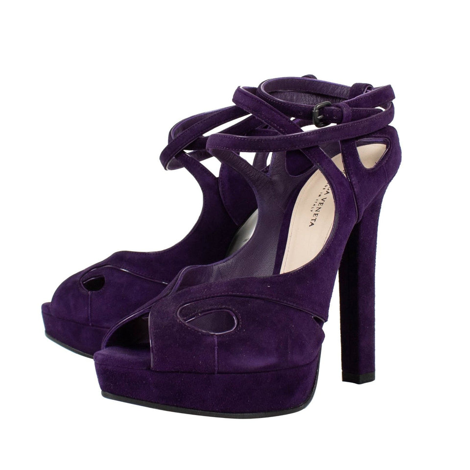 Suede Open Toe Cutout Sandal Pumps - Purple