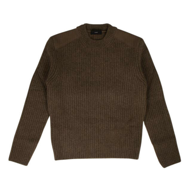 Knit Ribbed Crewneck Sweater - Dark Brown
