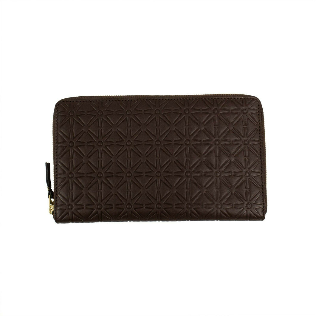 Leather Star Embossed Travel Organizer Wallet - Brown