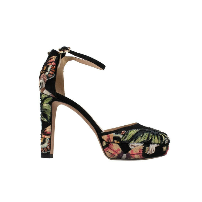 Embroidered Floral Platform Heels - Black