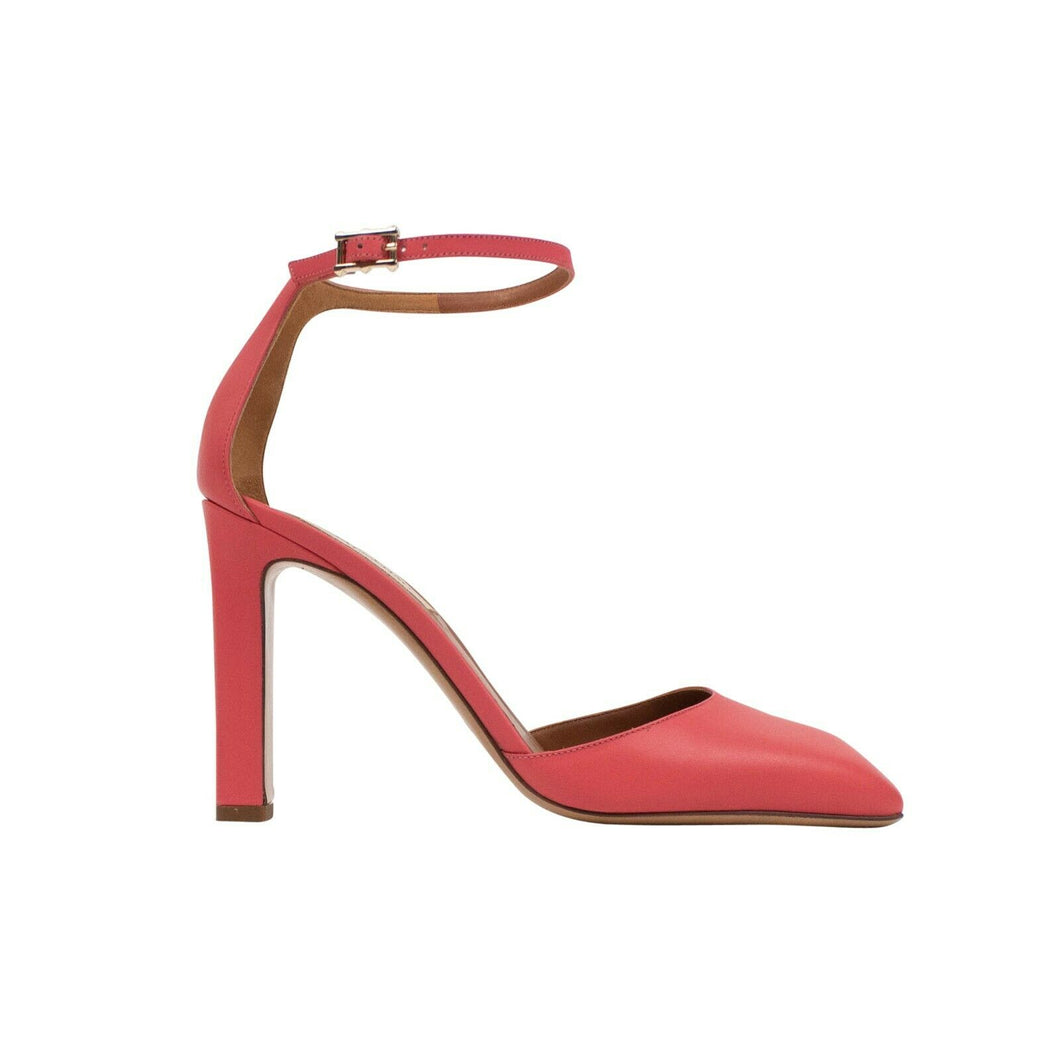 Leather Ankle Strap Heels - Pink