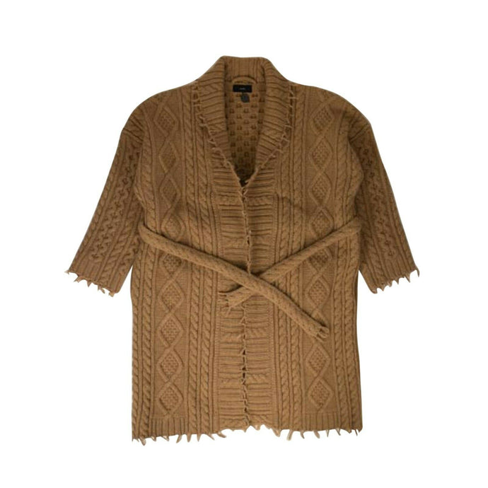 Cable-Knit 'Fisherman' Cardi-Coat - Carmel Brown