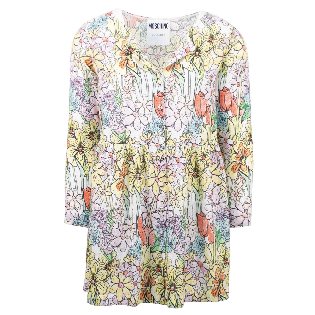 Floral Long Sleeve Button Front Dress - Multi