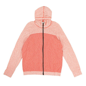 Cotton 'Marina' Striped Zip Up Sweatshirt - Red