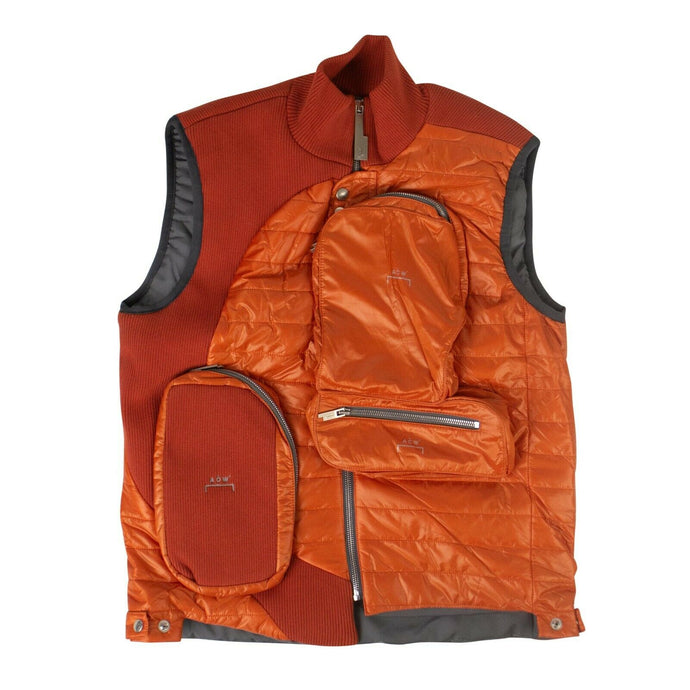 Puffer Panelled Jacket Vest - Orange