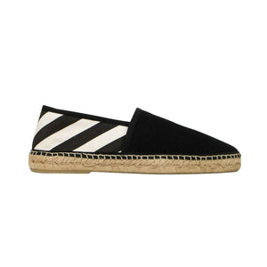 Striped Espadrille Shoes - Black