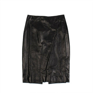 Leather Fitted Knee-Length Skirt - Black
