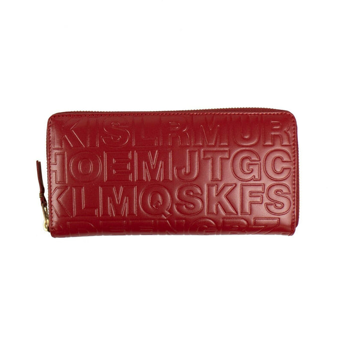 Leather Letter Embossed Zip Around Wallet - Red