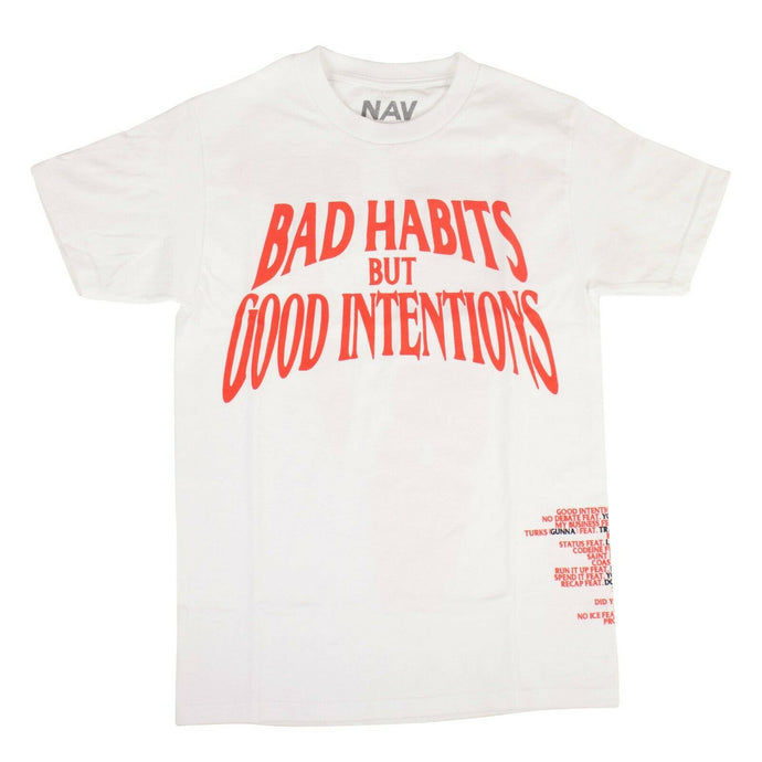 VLONE x NAV 'Bad Habits Good Intentions' T-Shirt - White