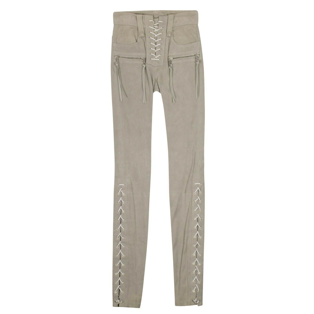 Suede Lace Up Skinny Pants - Gray