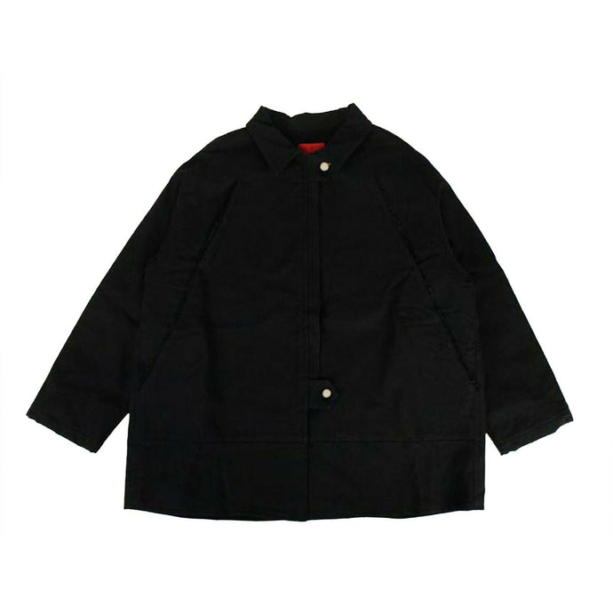 Collared 'Oversized Teared Canvas' Jacket - Black
