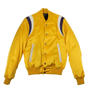 Silk Varsity Baseball Loose Bomber Jacket - Yellow