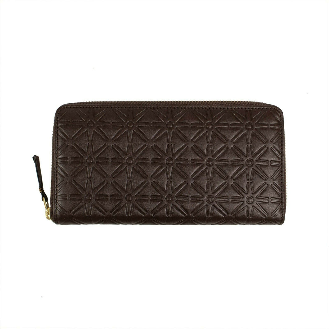 Leather Star Embossed Wallet - Brown