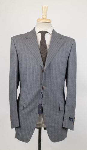Drop 4 Striped Wool 3 Button Suit - Gray