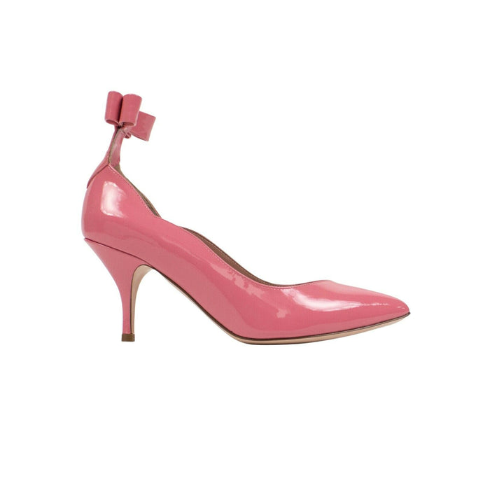 Patent Leather Bow 70mm Heels - Pink