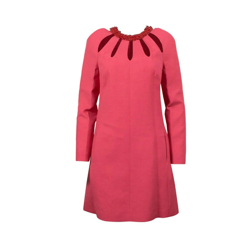 Wool Blend Cut Out Shift Dress - Pink