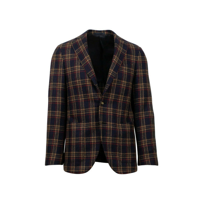 Drop 7 Plaid 3 Roll 2 Button Wool Sport Coat - Navy Blue
