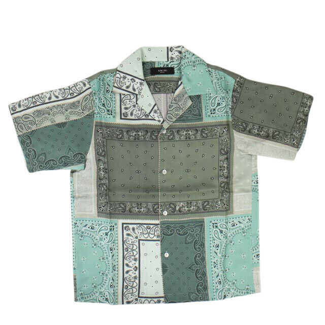 'Reconstructed Bandana' Button Down Shirt - Green