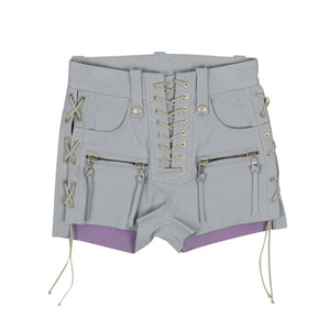 Leather Plonge Lace-Up Shorts - Light Gray