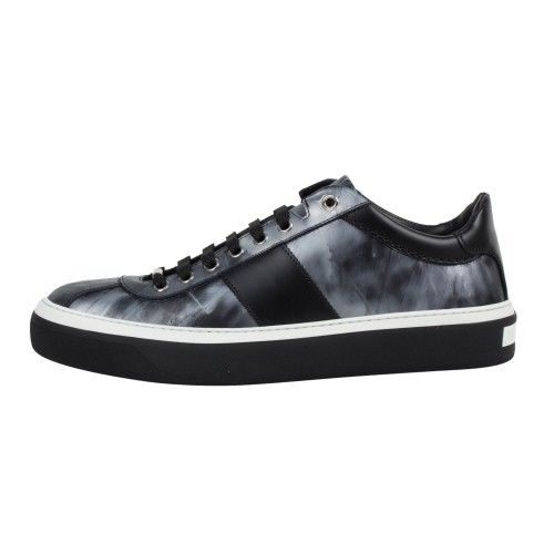 Portman Leather Lace-Up Low-Top Sneakers - Gray / Black