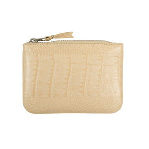 Reptile Leather Patchwork Wallet Pouch - Beige