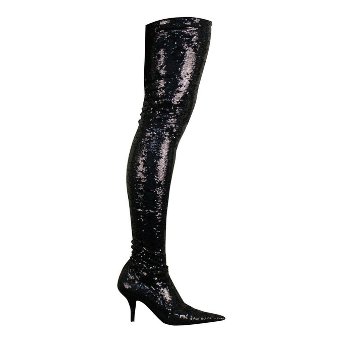Metallic Sequin Thigh High Heel Boots - Black