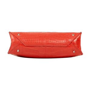 Small Crocodile Cable Shopper Tote - Coral