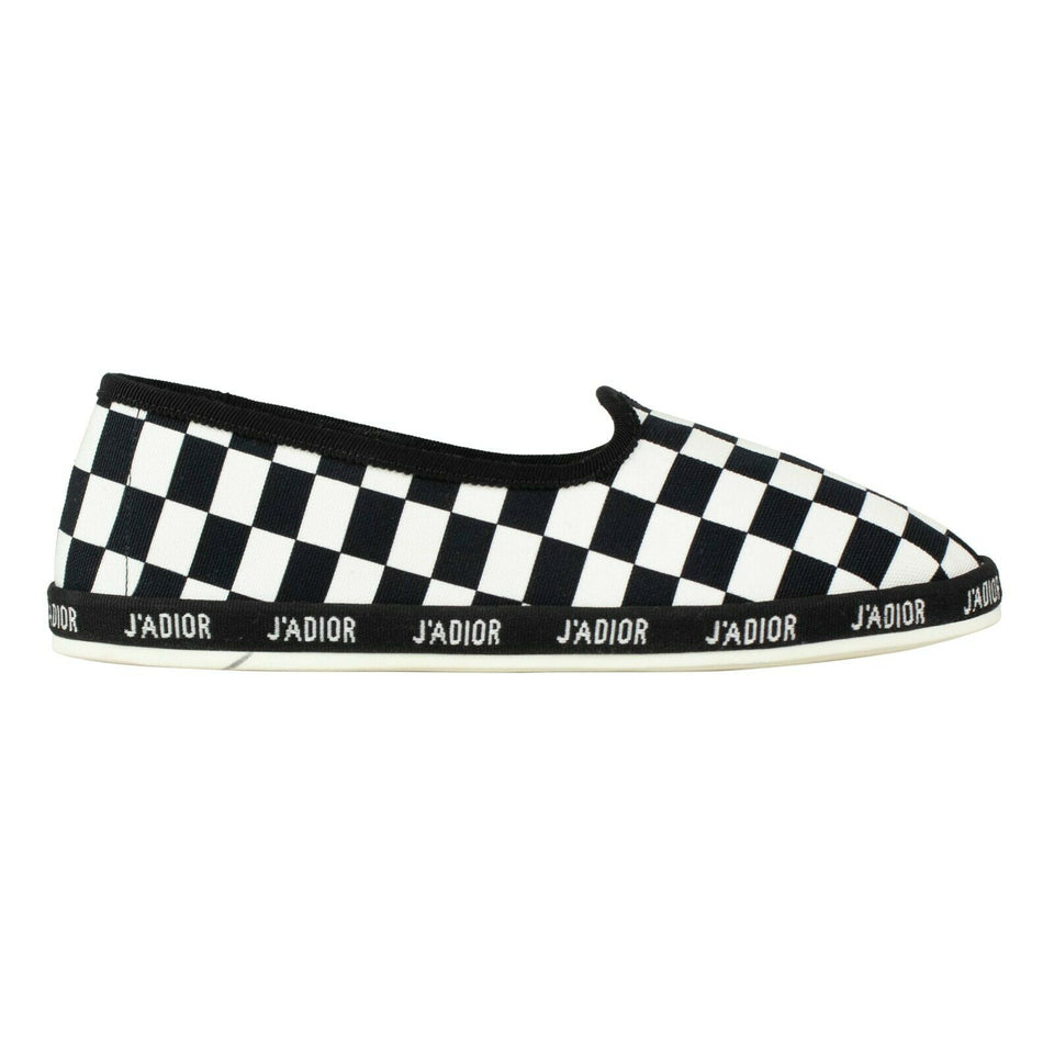 Checkered Canvas Dior Hit Slip-On Shoes - Black / White