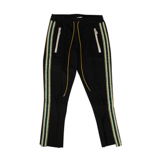 Rayon Gold/Green Side Stripe Traxedo Pants - Black